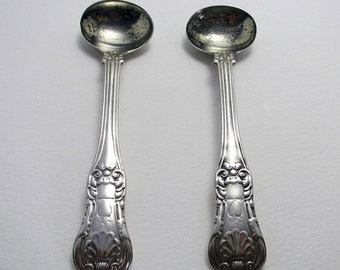 Pair of Scottish Antique (1826) King's Pattern Solid Sterling Silver GEORGIAN Salt Mustard Pot Spoons, Glasgow Hallmarked.
