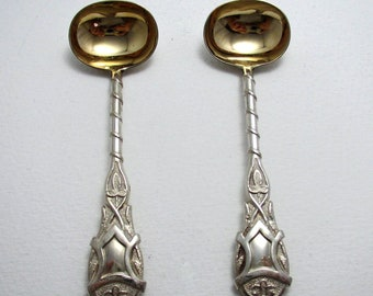 Unusual Pattern, Pair Antique Victorian Solid Sterling Silver Gilt Salt/Condiment/Mustard Pot Spoons. George Unite.