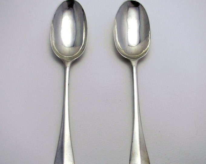 Pair of Rare George I (1721) Solid Britannia SILVER English Georgian RATTAIL Table Spoons. Early 18th-Century. London, Joseph Barbut.