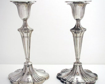 Pair of Antique (1903) Edwardian Solid Sterling Silver Candlesticks Candle Holders. English Sheffield.