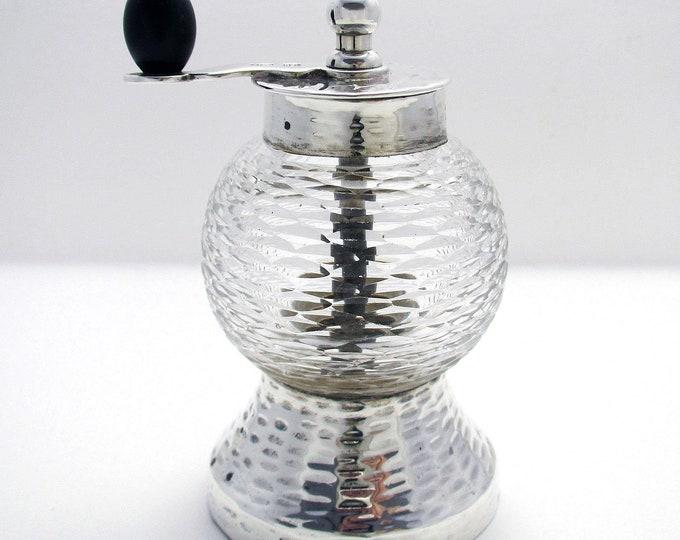 Rare Hukin Heath/Christopher Dresser (1893) Victorian Solid Sterling Silver Glass Antique Pepper Mill/Shaker/Grinder Arts & Crafts Aesthetic