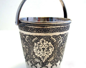 Beautiful Antique Persian (c1910) Islamic Middle Eastern CREAM PAIL Solid Silver Small Cup Beaker Basket.