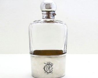 Large Victorian (1890) Solid Sterling SILVER & Cut Glass English Antique Spirit Whisky Hip Flask Bottle Container. 19th-Century.
