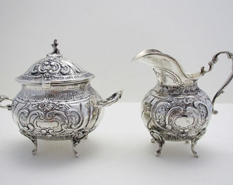 Rare Antique Swedish Hallmarked Silver Rococo Style Lidded Sugar Bowl & Cream Milk Jug Tea Caddy.