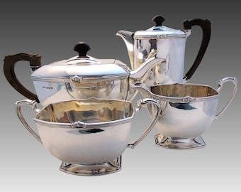 Superb ART DECO 4 four-piece Solid Sterling Silver Tea Coffee Pot, Sugar Bowl, Milk Cream Jug Teaset Service. English Sheffield