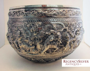 Magnificent Burmese Antique (1913) Repousse THABEIK BOWL White Metal Early 20th-Century. Kalewa, Upper Burma.