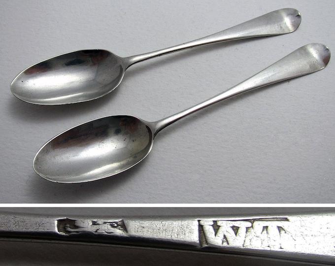 Pair of Antique (c1773) Georgian George III HANOVERIAN Solid Sterling Silver Tea/Coffee Spoons, William Turton, English Hallmarked.