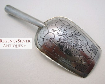 Russian (Moscow 1853) Hallmarked Solid Silver ANTIQUE Tea CADDY SCOOP Spoon Shovel Spade. Andrei Kovalsky.