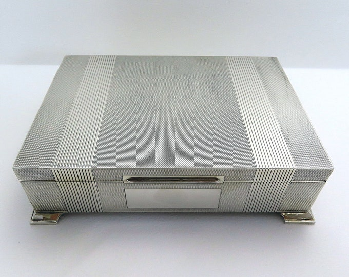 Featured listing image: Top Quality Sterling Silver Table Cigarette Box Cigar Trinket Jewelry Casket Case Vintage Art Deco style. English Birmingham hallmarked.