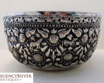 Rare TIBETAN Antique (c1910) Solid Silver 'Enlightenment' Bowl. Tibet, Buddhism, Zodiac, Early 20th-Century.