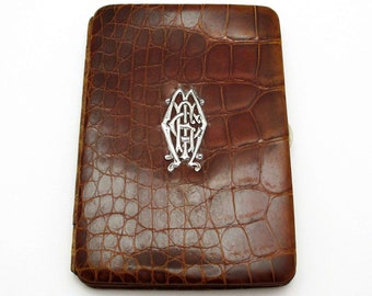 Antique Edwardian (c1910) Solid Sterling Silver Mounted Crocodile Skin Leather Wallet Purse Name Note Card Stamp Case