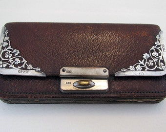 Antique Victorian (1900) Solid Sterling Silver & Leather Wallet Purse Pocket Coin Stamp Card Case. English London Hallmarked.