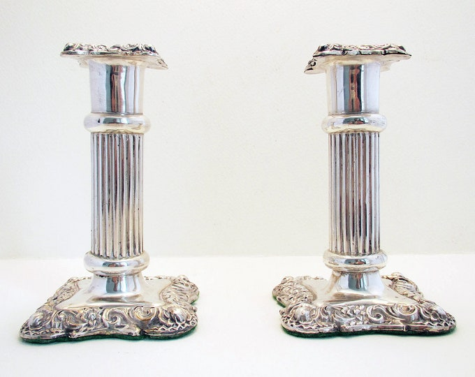 "Featured listing image: Antique Victorian (1900) Solid Sterling Silver English Candlesticks Candle Holders. 4 1/2"" tall."