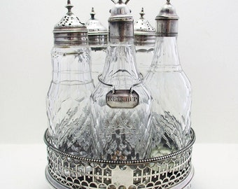 Antique George III (1777) English Georgian Solid Sterling Silver Cruet Set Stand, Antique Cut Glass Bottle Oill Vinegar Jar + Ketchup Label