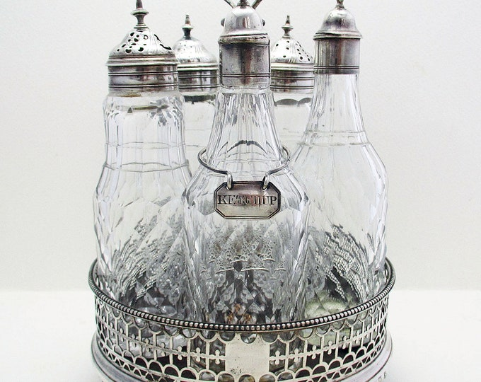 Featured listing image: Antique George III (1777) English Georgian Solid Sterling Silver Cruet Set Stand, Antique Cut Glass Bottle Oill Vinegar Jar + Ketchup Label