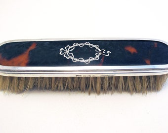 1922 Solid Sterling Silver Mounted Antique Vintage Pique Work Dressing Table Clothes Brush. English Birmingham Hallmarked.