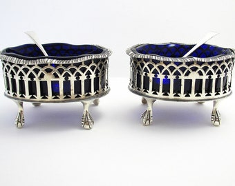 Large & Heavy Pair English Solid Sterling Silver Pierced Master Salt Cellars/Dishes/Bowls, with Blue Glass Liners and Spoons.