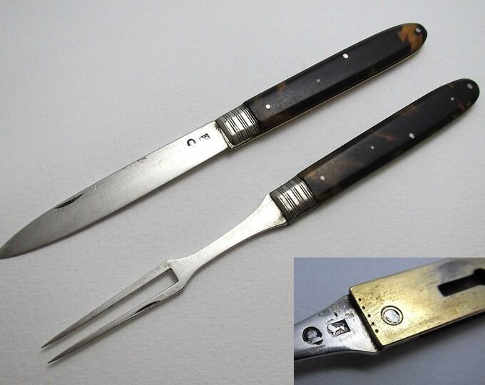 Very Rare Georgian George III (c1790) Sterling Silver Tortoiseshell Interlocking Folding Pocket Knife & Fork, Travelling/Campaign, Sheffield