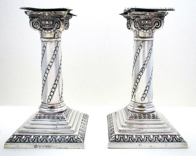 Featured listing image: Pair of Antique Victorian (1897) Solid Sterling Silver Corinthian Column Candle Holder Candlesticks. English Hallmarked 19th-Century.
