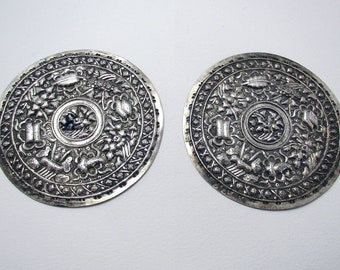 Rare PAIR (c1890) Straits Chinese/Peranakan ANTIQUE Solid Silver Pillow Ends Buntal Plates