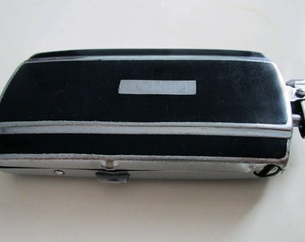 Art Deco Genuine Ronson Chrome & Black Enamel Cigarette Lighter Combination Case. Vintage.