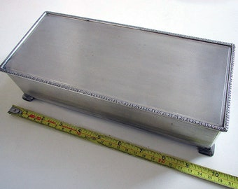 Huge 25cm 1960s Sterling Silver English Cigarette Cigar Trinket Jewelry Casket Case Box. Solid Lid. 20th-Century.