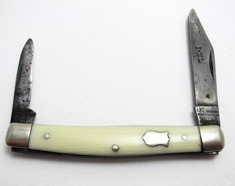 Antique (c1900) Carbon Steel IXL GEORGE WOSTENHOLM Twin Bladed Folding Penknife Fruit Pen Jack Knife. Sheffield England.