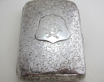 Beautiful Victorian Engraved Solid Sterling SILVER Cigarette Card Case/Box. English Birmingham Hallmarked 1893. Minshull & Latimer.