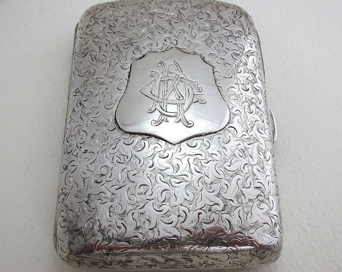 Featured listing image: Beautiful Victorian Engraved Solid Sterling SILVER Cigarette Card Case/Box. English Birmingham Hallmarked 1893. Minshull & Latimer.