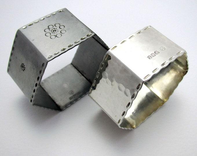 Rare Keswick School of Industrial Arts KSIA Solid Sterling SILVER / Stainless Steel Arts & Crafts Napkin Rings, Scottish Edinburgh Hallmarks