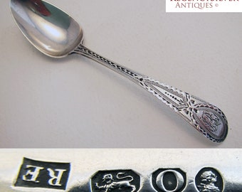 Rare Shrewsbusy 18th-century (1789) Georgian English Provincial hallmarked Antique Solid Sterling Silver Tea Spoon. Bright-cut pattern.