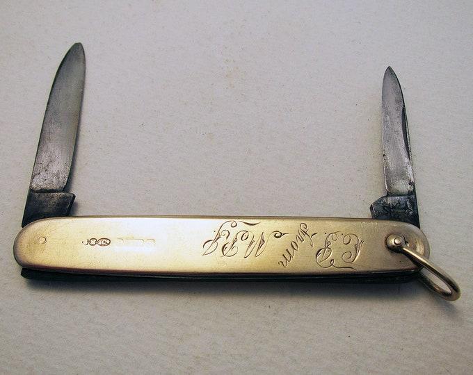 Rare Sampson Mordan (1906) Antique Edwardian Solid 9k / .375 Karat Gold Double Folding Pocket Pen Knife Penknife. English Chester.
