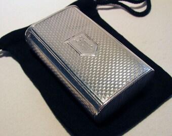 Rare VICTORIAN Antique (1877) Solid Sterling Silver Match Box Vesta Case. English/Birmingham Hallmarked. 19th-Century.
