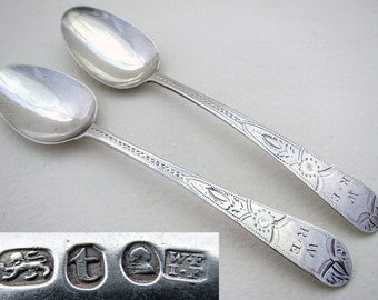 Pair early, 1794 George III Solid Sterling Silver Bright-cut Georgian Antique Tea Spoons, William & John Fisher, Old English pattern.