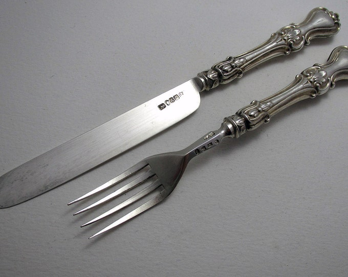 Antique (1849) Solid Sterling Silver English Victorian Christening/Childs Pair Knife & Fork Set. Albert pattern.