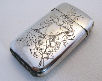 Rare Imperial Russian Antique Solid Silver Match Box Striker Vesta Case. Moscow Hallmarked 84 Zolotniki. 19th-Century.
