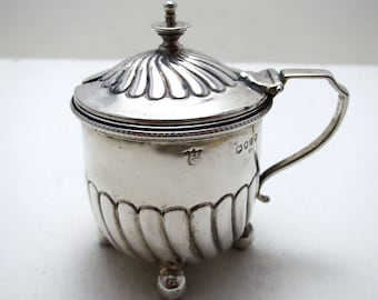 Antique Victorian 1889 Solid Sterling Silver Fluted Mustard Pot Cruet. English 19th-Century Birmingham Hallmarked.