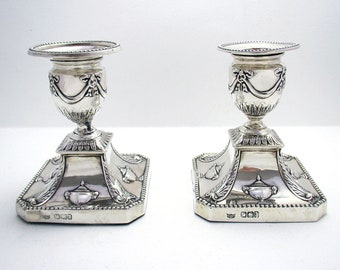 Pair of Antique (1893) Victorian Solid Sterling Silver ADAM STYLE Candlesticks Candle Holders. English Sheffield.