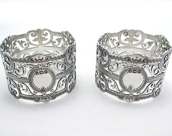 Pair Antique Edwardian Solid Sterling Silver Pierced Open Work Serviette Napkin Rings. Provincial English Hallmarked Bristol 1907.