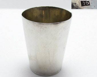 ANTIQUE Chinese Export (c.1910) Solid Sterling Silver Shot Glass Tot Cup Small Beaker. Maker WANG HING