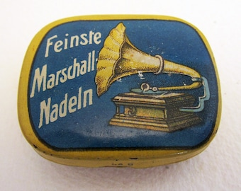 German Marschall Feinste Nadeln Gramophone Needle Metal Tin Case Box. BLUE. Early 20th-Century. Antique/Vintage.