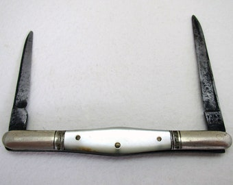 Rare Victorian Double QUILL CUTTER Folding Pocket Mother of Pearl Pen Knife Penknife, Writing Accessory. Antique/Vintage Pencil Sharpener