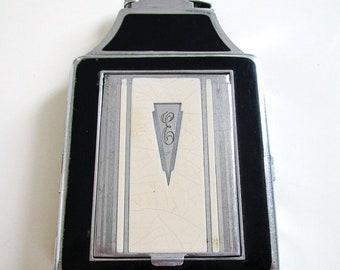 Rare Genuine Ronson Chrome & Black Enamel Cigarette Lighter Compact Combination Case. Art Deco. Vintage.