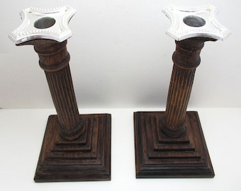 "Pair of Unusual Wood/Silver Plated Corinthian Column English Antique Candle Holder Candlesticks. 9"" tall."