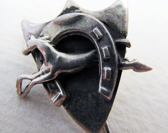 Hallmarked Solid Sterling SILVER PIN (Hat, Lapel, Clothes). Horse/Horseshoe