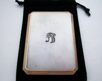 Rare Asprey & Co (1933) Solid Sterling Silver GILT Gold Wash Slide-Action Sliding Cigarette Case.