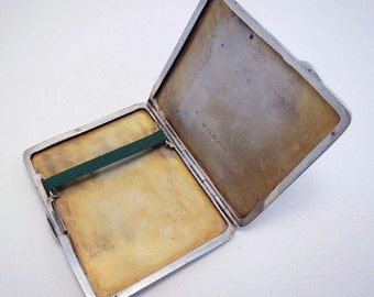 ART DECO (1936) Solid Sterling Silver 925 Cigarette Card Compact Case Box. English Birmingham Hallmarked.