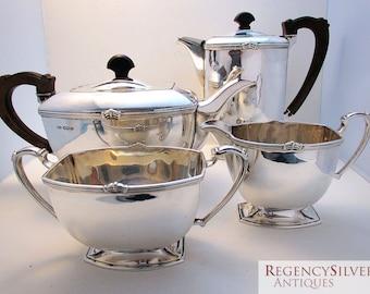 Superb ART DECO 4 four-piece Solid Sterling Silver Tea Coffee Pot, Sugar Bowl, Milk Cream Jug Teaset Service. English Sheffield
