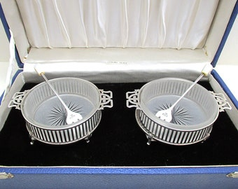 Pair of Antique Edwardian (1911) Solid Sterling SILVER and Glass Cased OLIVE Pickle Salt Dishes Bowl+Forks. by Wilson & Sharp. Gift Box.