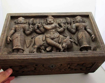 "Superb Large 12"" wide Antique Wood 'High Relief' Hand Carved Indian Tamil Nadu Table Box/Casket, Krishna."